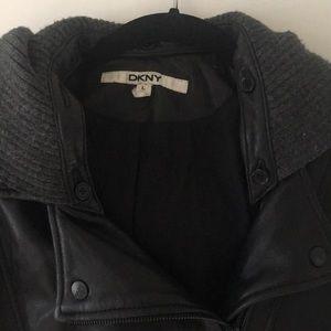 Dkny Jackets & Coats - DKNY Black Leather Moto Jacket w/ detachable hood